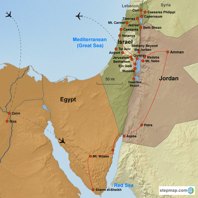The Exodus Egypt Jordan Israel Day Tour - Map of egypt during exodus