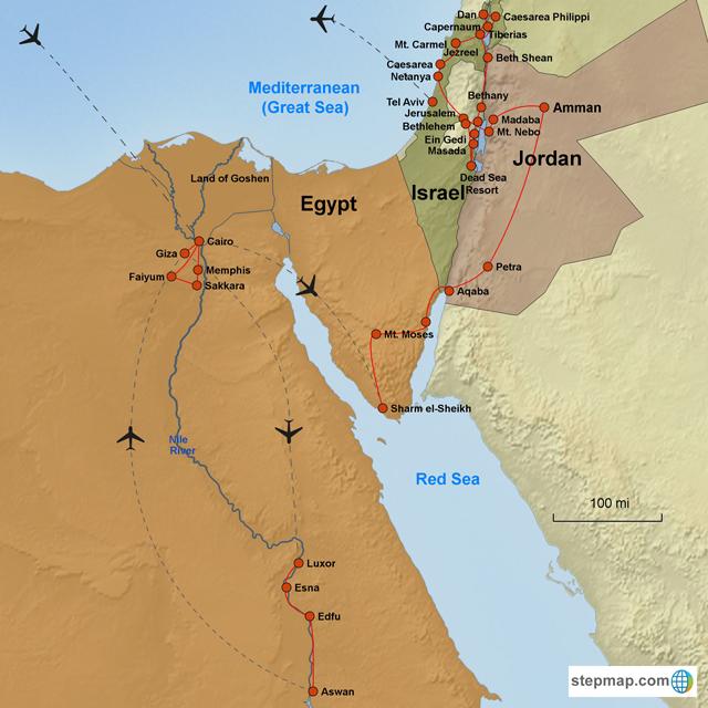 israels journey from egypt to jordan Namna israels land og barn av israel har historisk synt til høvesvis det bibelske kongedømet israel og  jordan og vestbreidda i aust, og egypt og gazastripa i.
