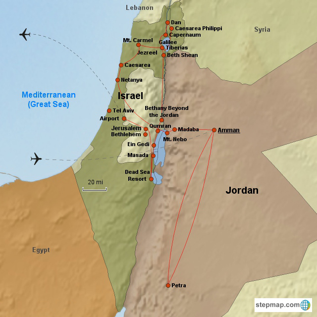 Israel Egypt Day First Class Tour - Map of egypt jordan and israel